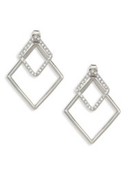 Abs By Allen Schwartz Out Last Night Front Back Crystal Diamond Shaped Earrings Silver