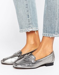 New Look Leather Metal Detail Loafer Gunmetal Silver