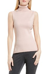Vince Camuto Women's Sleeveless Ribbed Turtleneck Sweater Rosy Flush
