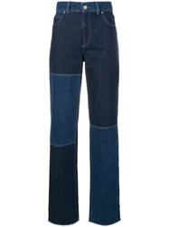 Pringle Of Scotland High Waisted Patchwork Jeans Blue