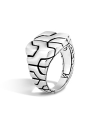 Woven Silver Chain Square Ring John Hardy