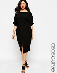 Asos Curve Plain Wiggle Cut Out Back Dress Black