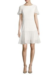 Nue By Shani Eyelet Fit And Flare Dress Ivory