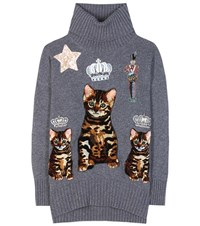 Dolce And Gabbana Embellished Cashmere Sweater Grey