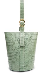 Trademark Small Croc Effect Leather Bucket Bag Gray Green