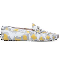 Tod's Ghepardo Leopard Print Leather Loafers Yellow