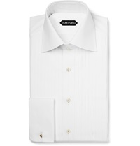 Tom Ford Pleated Cotton Tuxedo Shirt White