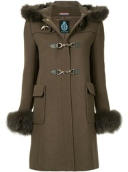 Guild Prime Fur Collar Double Breasted Coat Brown