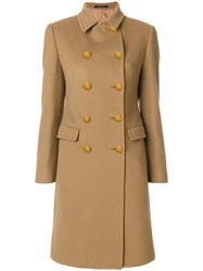 Tagliatore Double Breasted Coat Women Cupro Cashmere Virgin Wool 38 Brown