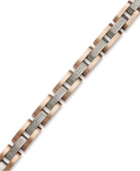 Macy's Men's Diamond Bracelet In Stainless Steel And Rose Ion Plated Sterling Silver 1 2 Ct. T.W.