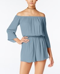 One Clothing Juniors' Off The Shoulder Romper Chambray