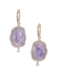 Meira T Tanzanite Mother Of Pearl Diamond And 14K Yellow Gold Drop Earrings