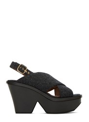 Marni Felted Cross Over Wedge Sandals Grey