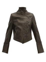 Ann Demeulemeester Sabine Double Breasted Leather Jacket Black