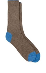 Barneys New York Men's Tipped Cuff Stockinette Stitched Mid Calf Socks Tan Light Blue Tan Light Blue