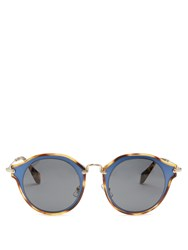 Miu Miu Bi Colour Round Frame Sunglasses Blue Multi