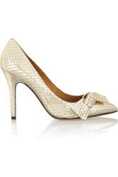 Isabel Marant Metallic Snake Effect Leather Pumps