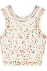 Etro Cropped Floral Print Leather Top Off White