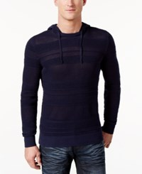 Inc International Concepts Men's Open Knit Hooded Sweater Only At Macy's Basic Navy