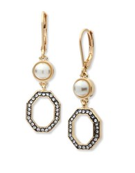 Anne Klein Crystal And Reconstituted Stone Square Framed Drop Earrings Gold