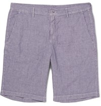 Massimo Alba Striped Linen Shorts Purple
