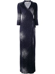 Diane Von Furstenberg Patterned Maxi Wrap Dress Blue