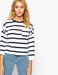 Asos Long Sleeve Top In Stripe With Pocket Whitenavy