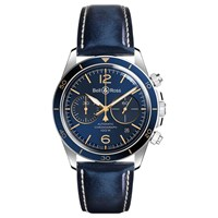 Bell And Ross Brv294 Bu G St Sca Men's Vintage Aeronavale Chronograph Automatic Date Leather Strap Watch Blue