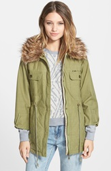 Billabong 'A La Military' Faux Fur Trim Jacket Seagrass
