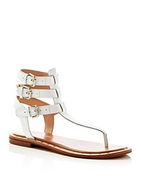 French Connection Imanna Triple Buckle T Strap Sandals Summer White