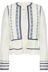 Talitha Sindhi Pleated Embroidered Crepe Peplum Jacket Ivory
