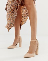 Aldo Nicholes Heeled Court Shoes With Ankle Strap In Beige Pink