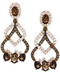 Le Vian Chocolate Quartz 2 2 3 Ct. T.W. And White Topaz 1 1 5 Ct. T.W. Drop Earrings 14K Rose Gold