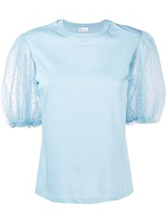 Red Valentino Point D'esprit Puff Sleeve T Shirt Blue