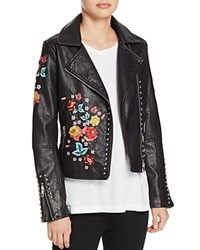 Molly Bracken Floral Embroidered Faux Leather Biker Jacket Black