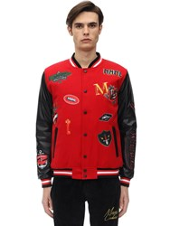 Minimal Bomber Jacket W Patches Red