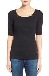 Women's Caslon Ballet Neck Cotton And Modal Knit Elbow Sleeve Tee Black
