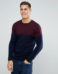 Tom Tailor Jumper With Burgundy Colour Block 5465 Red