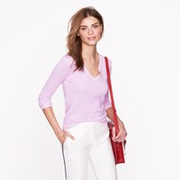 J.Crew Collection Cashmere Plaited V Neck Sweater