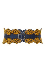 Tanya Taylor Embroidered Leather Belt Yellow