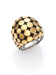 John Hardy Dot 18K Yellow Gold And Sterling Silver Dome Ring Gold Silver