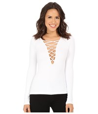 Free People Lace Up Layering Tee White Women's T Shirt