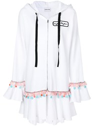 Au Jour Le Jour Embroidered Ruffle Trim Hoody White