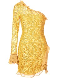 Alexis One Shoulder Lace Dress Yellow