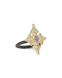 Armenta 18K Opal And Diamond Maltese Cross Ring Size 6 Women's