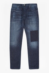 French Connection Men's Snakeboard Stretch Slim Patchwork Jeans Blue