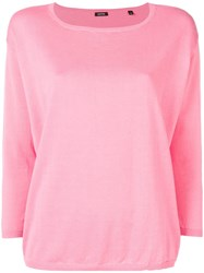 Aspesi Boat Neck Knitted Top Pink