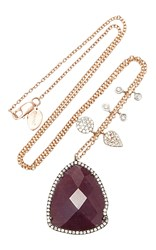 Meira T Rose Gold Ruby And Diamond Charm Necklace Red
