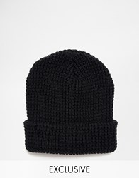 Reclaimed Vintage Waffle Knit Beanie In Navy Navy