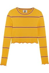 Topshop Unique Margot Striped Stretch Knit Top Yellow